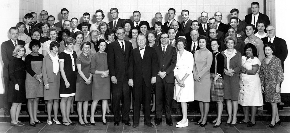 First faculty and staff photo including Dean Hilmar Krueger (center front), taken in 1967