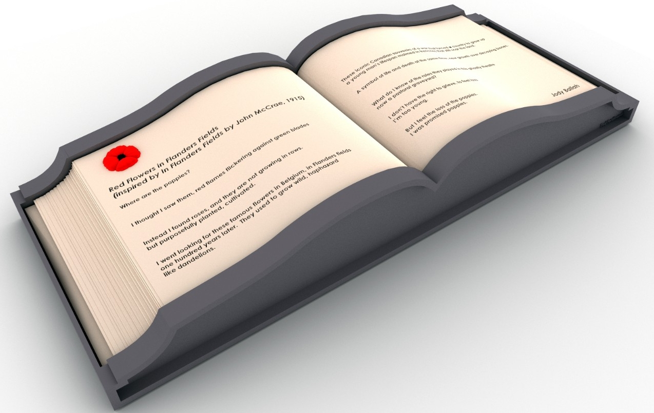 Artwork from exhibit, book opened with red flower on page