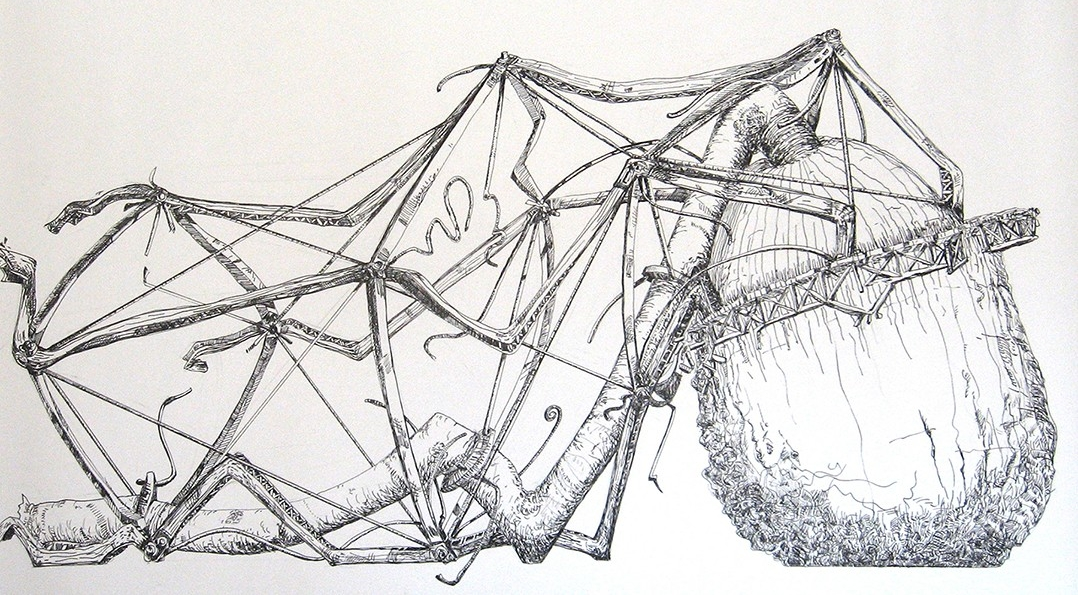 "1. Dysfunctional Systems #08, ink on paper, 22"" x 30"" (2014)"