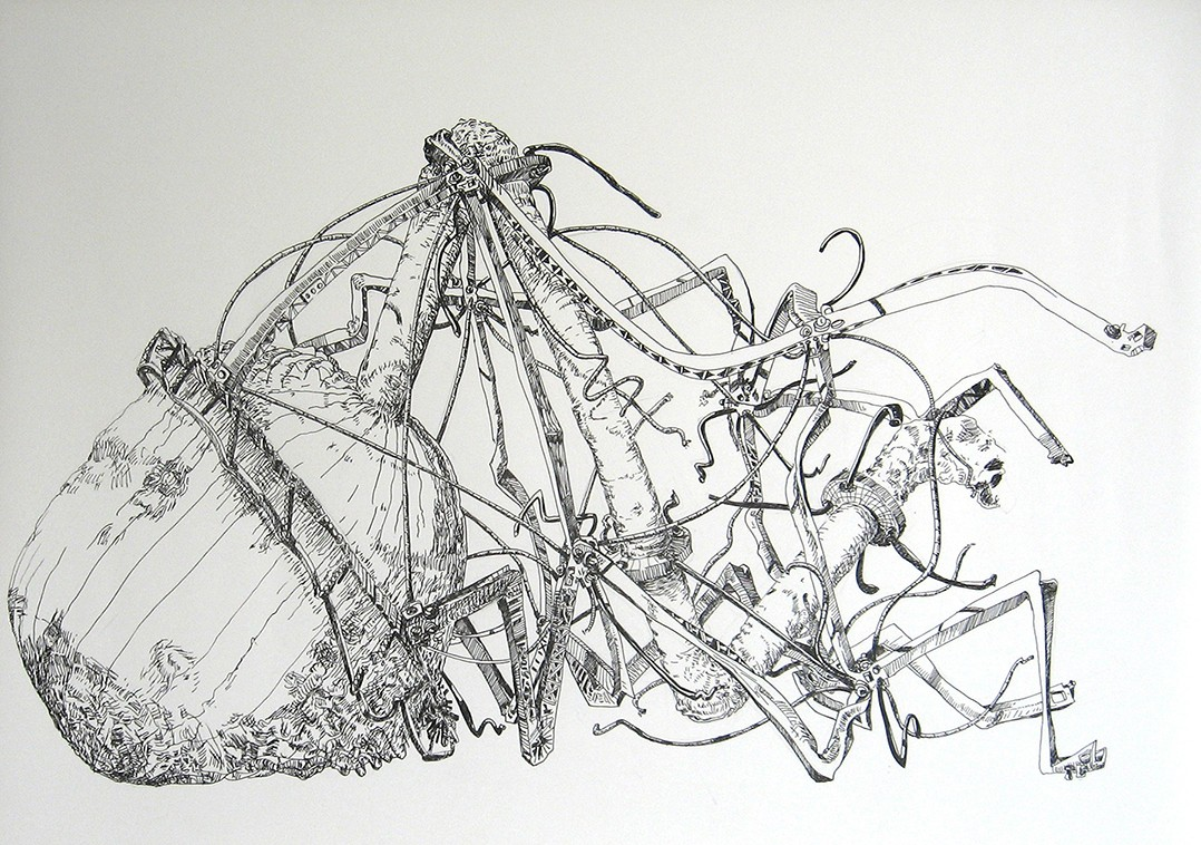"2. Dysfunctional Systems #14, ink on paper, 22"" x 30"" (2014)"