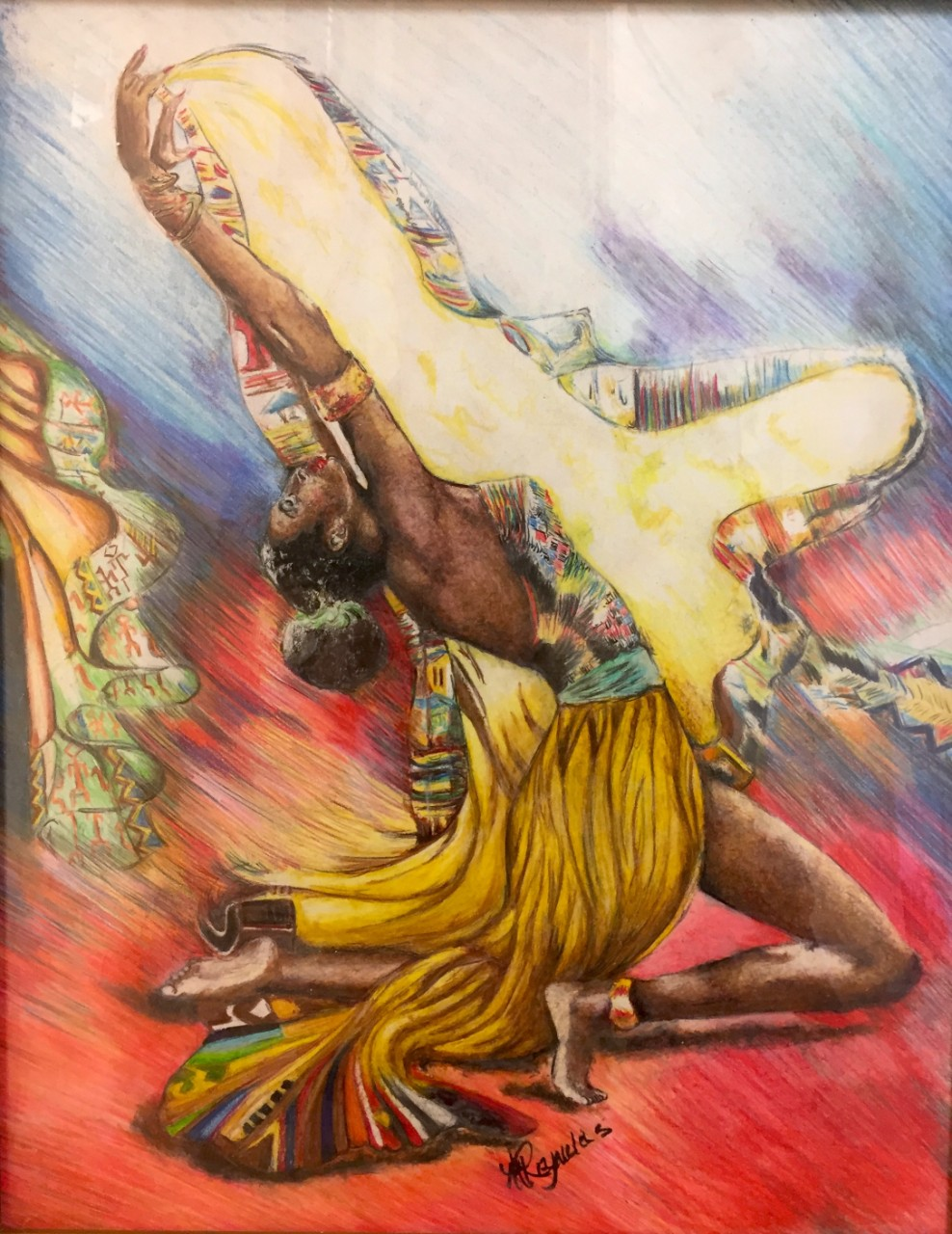 "Michael Reynolds – African Dancer, 20"" x 16"", colored pencil (n.d.)"