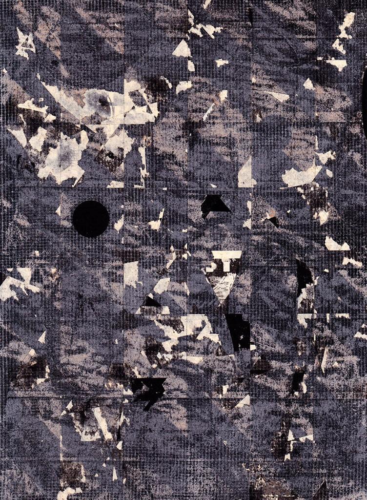 "3. Seepage: Nuptials/Computers/Doctors, spray paint on newsprint on board, 8"" x 10"" x 1"", 2015"