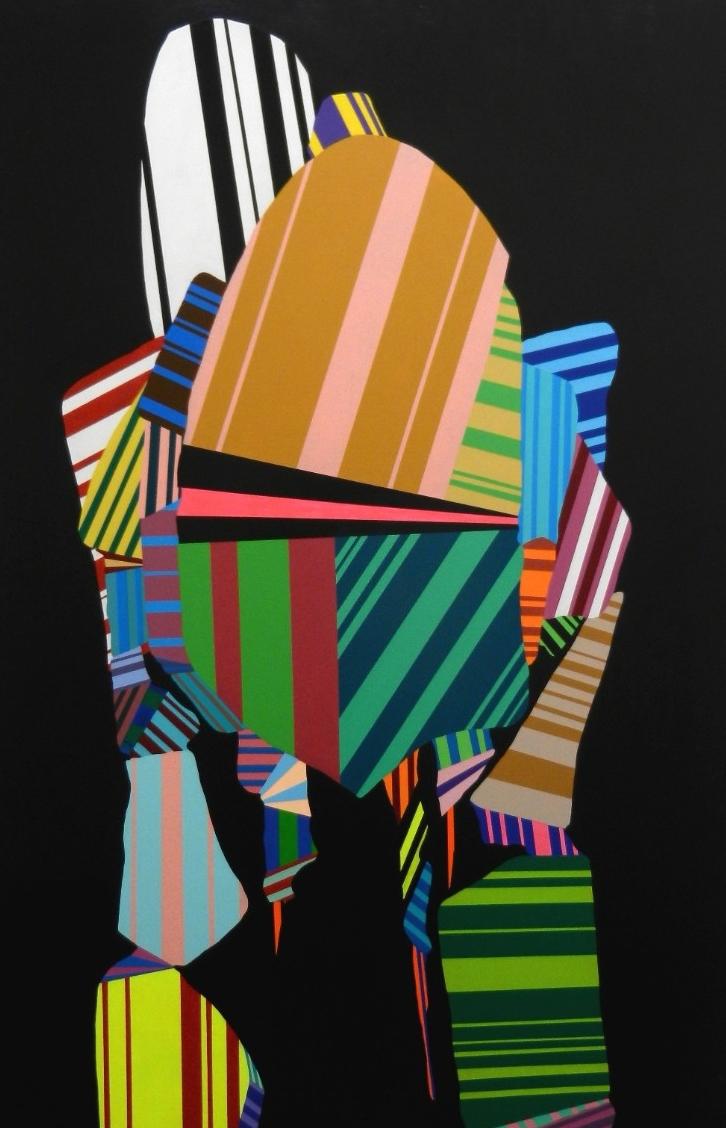 """3. INV003, acrylic on wood panel, 48"""" x 28"""", 2015."""