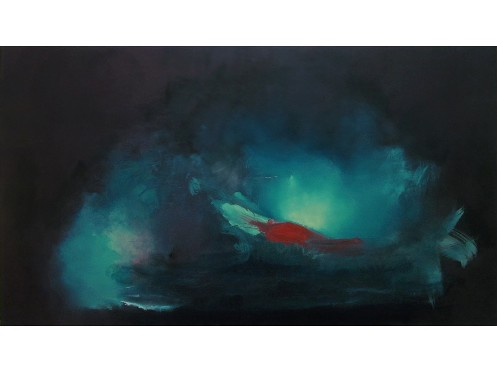 """1. Submerged Mass No. 2, oil on board, 49"""" x 28"""", 2014"""