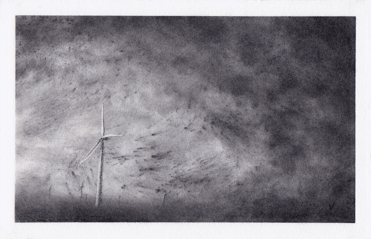 """1. Adair, charcoal on paper, 7"""" x 11"""" (2011)"""