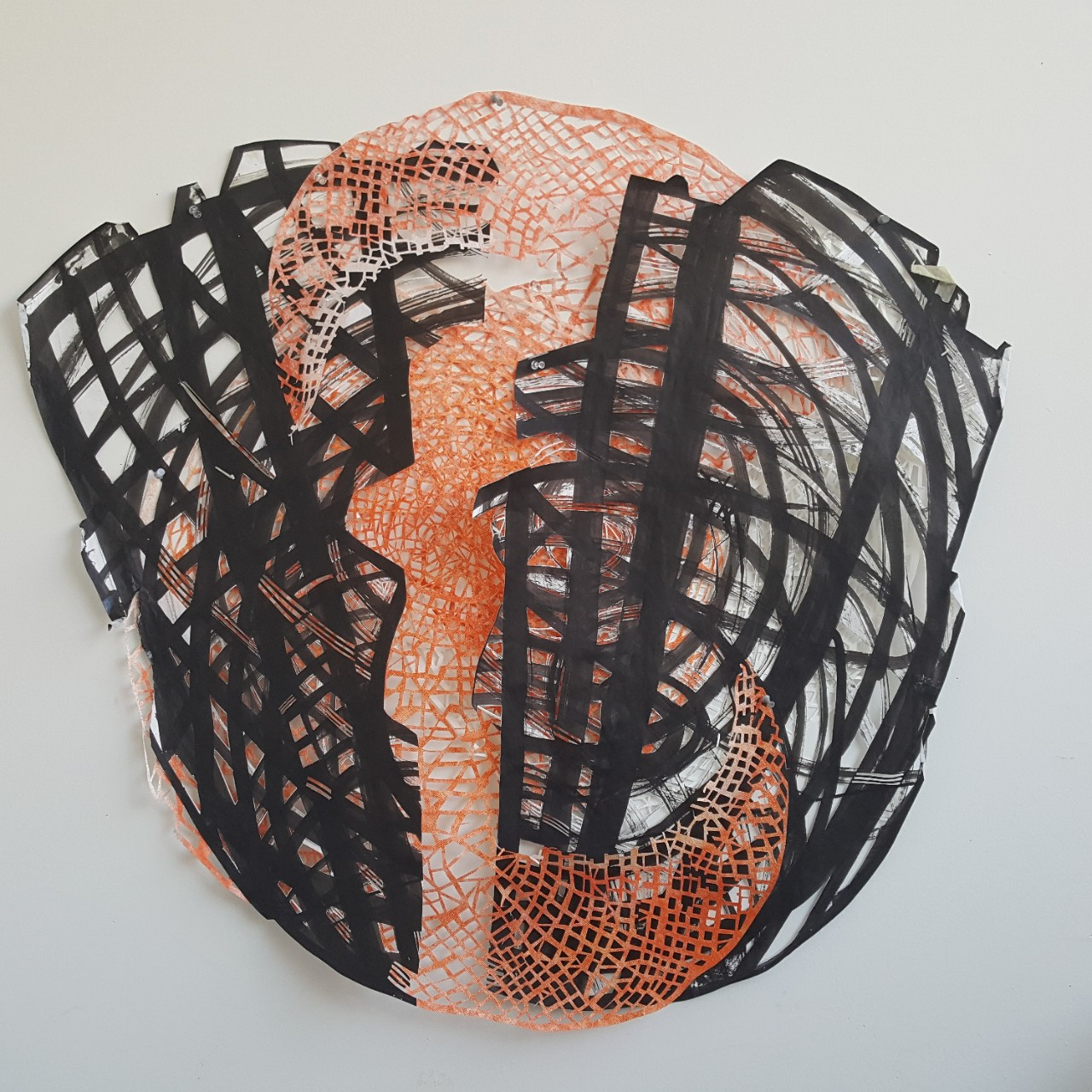 abstract art using black and orange objects