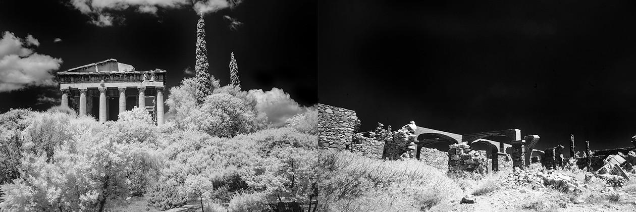 "2. Greekopolis No. 1, digital infrared photograph, 9""x25"" (2015)"