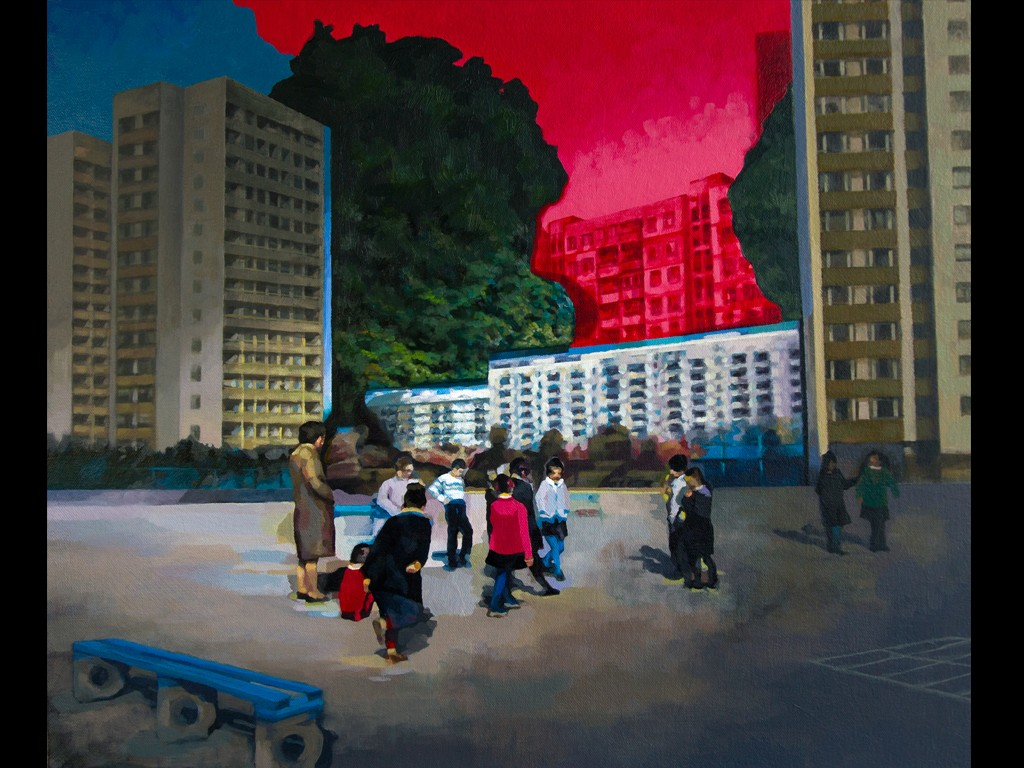 Artwork of urban setting with red sky