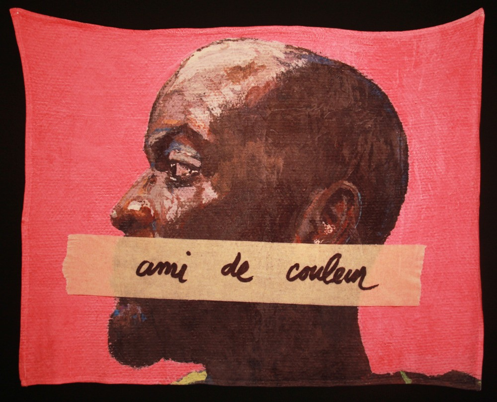 "1. French for Antoine, ink on polyester, 60"" x 80"" (2014)"