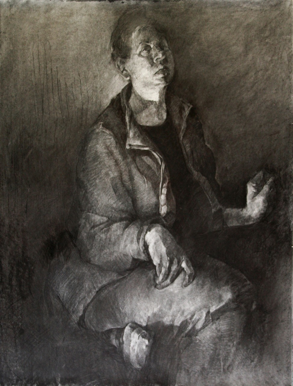 Artwork of figure gesturally drawn in black and white