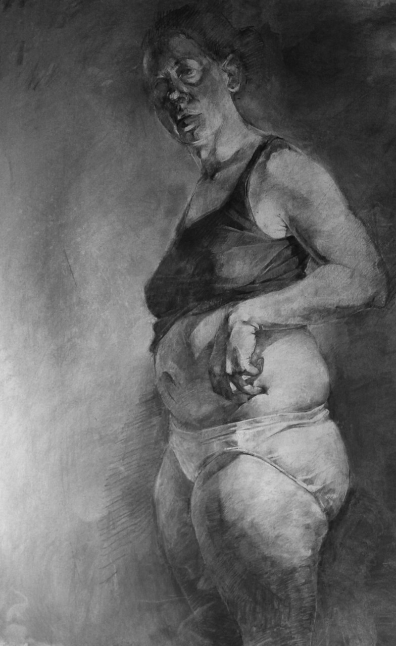 "1. Asymmetry, charcoal on paper, 50"" x 42"" (2013)"