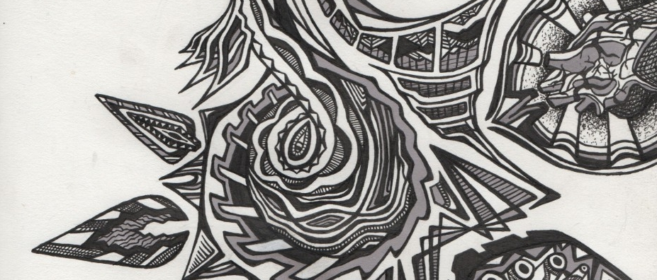 Black and white designs made with ink