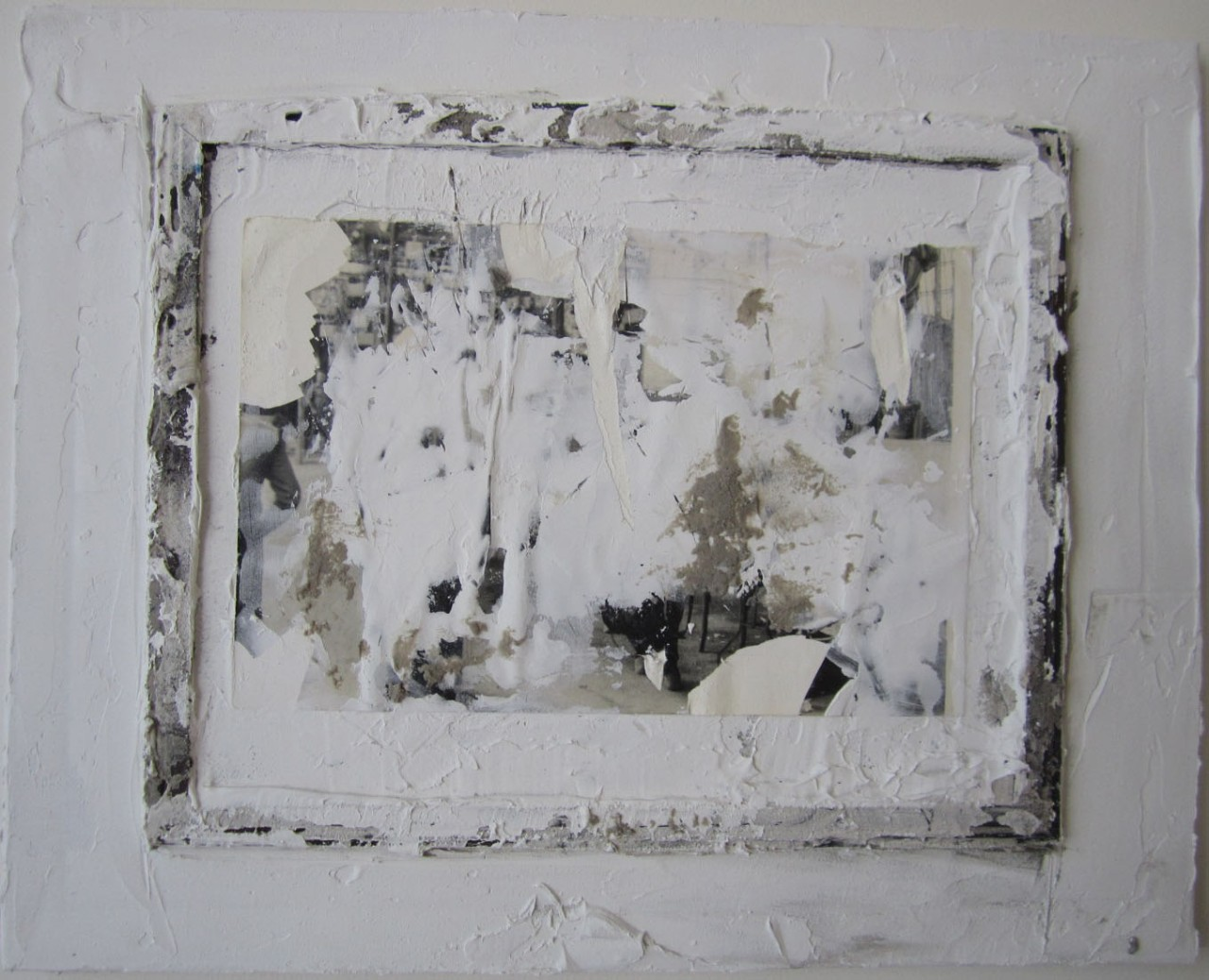 """5. White #11, cardboard, plaster and mixed media mounted on canvas, 20"""" x 16"""" (2016)"""