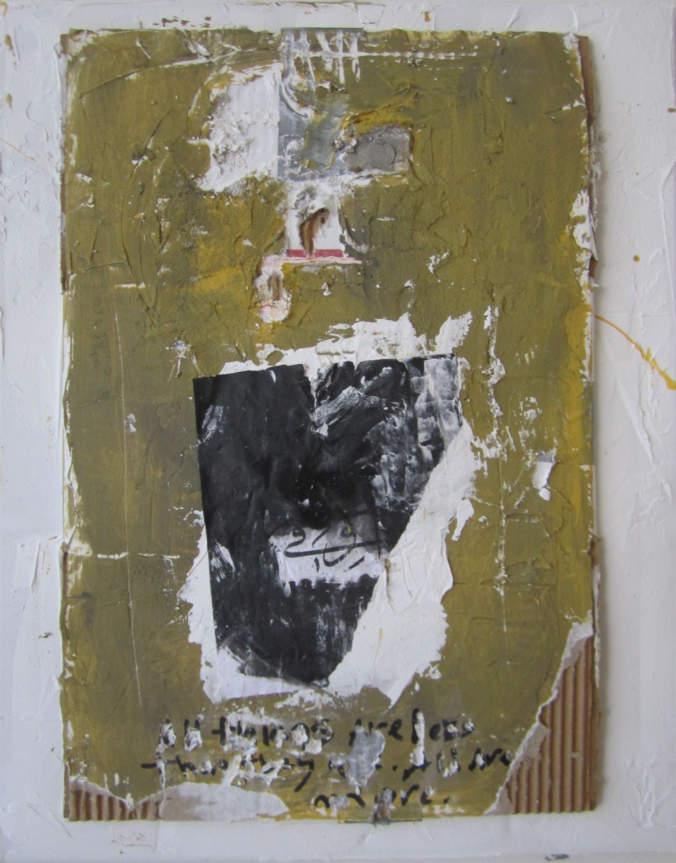 """3. White #10, cardboard, plaster and mixed media mounted on canvas, 20"""" x 16"""" (2016)"""