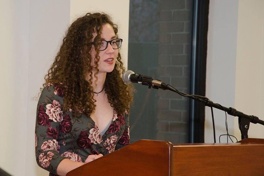 Rachael Munns reading a poem