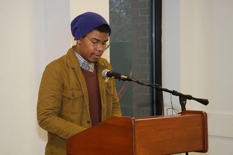 Avery Dorsch reading a poem