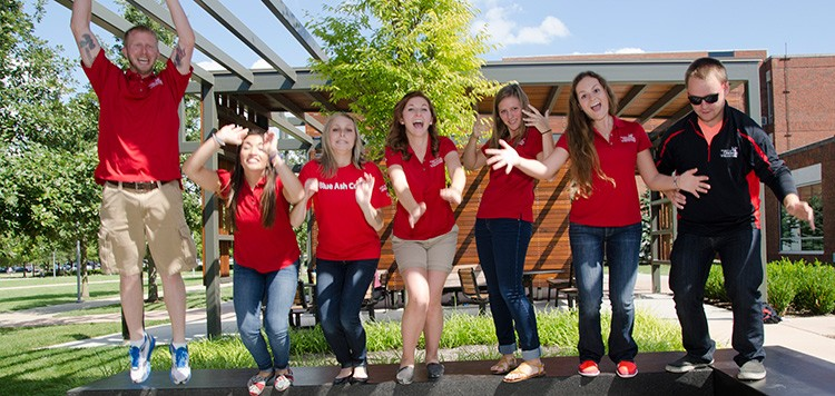 Student ambassadors celebrating success on campus