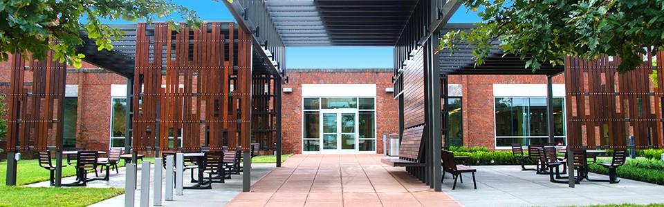 UC Blue Ash campus patio in spring