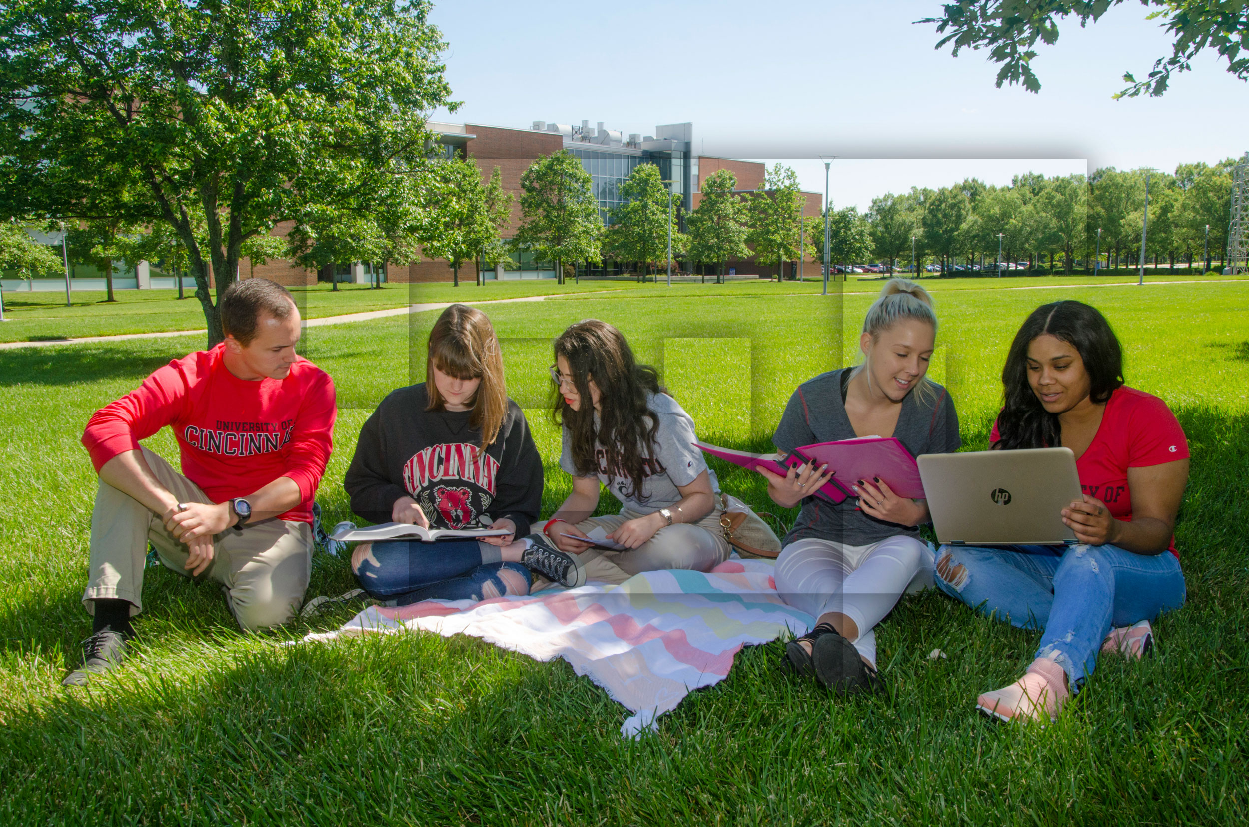 Students sitting outside on the UC Blue Ash campus
