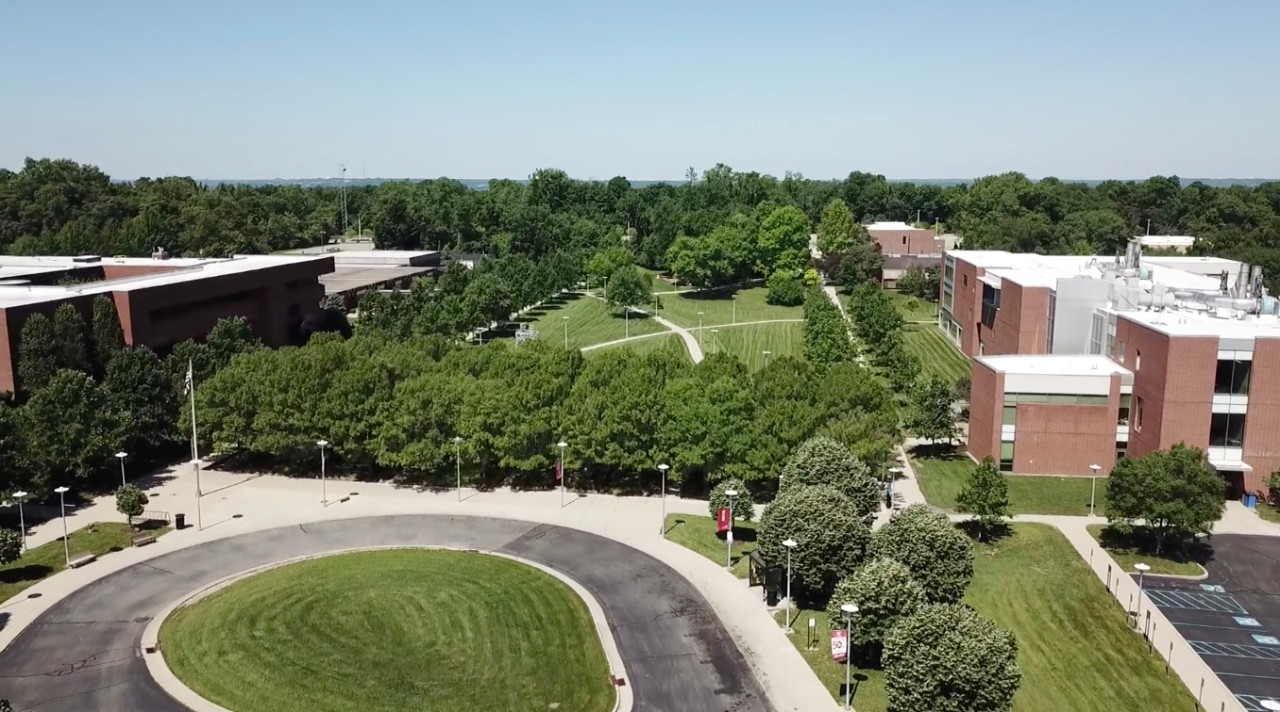 Aerial view of UC Blue Ash Campus in spring