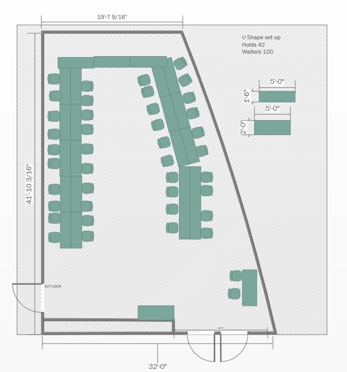 U-shape layout Floorplan for Walters 100