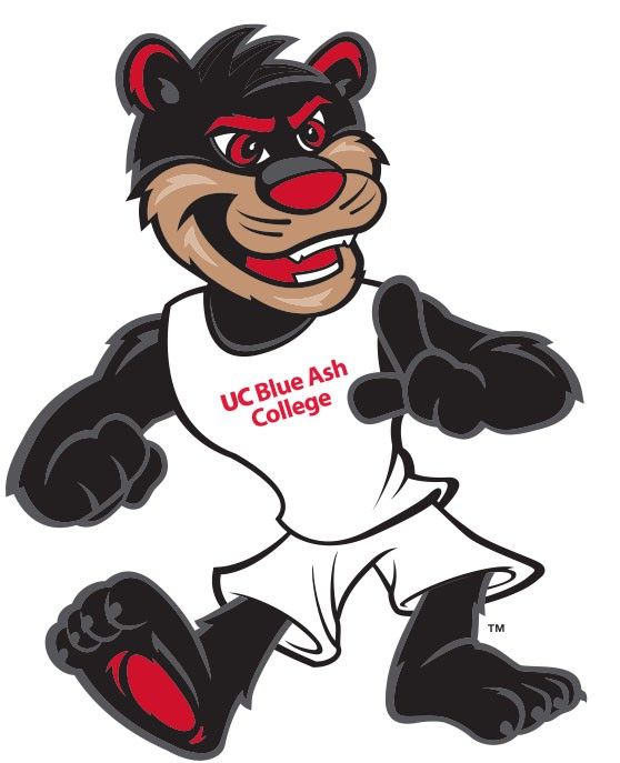 Bearcat mascot with UC Blue Ash College jersey