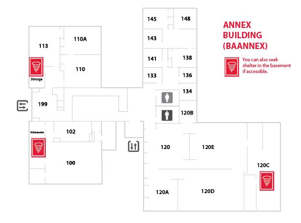 UC Blue Ash College Annex Floor Plan with legend