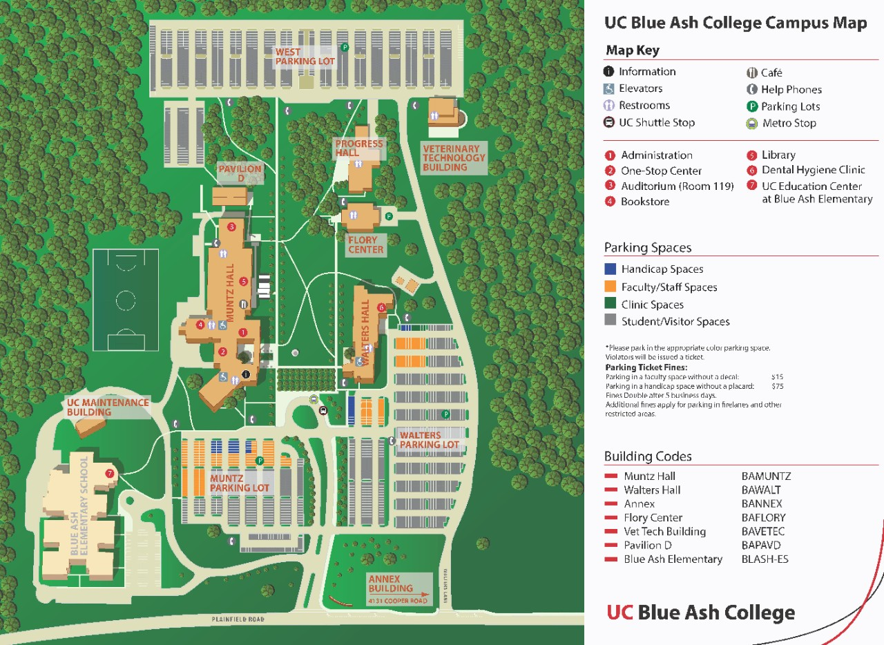 Full map of UC Blue Ash College campus