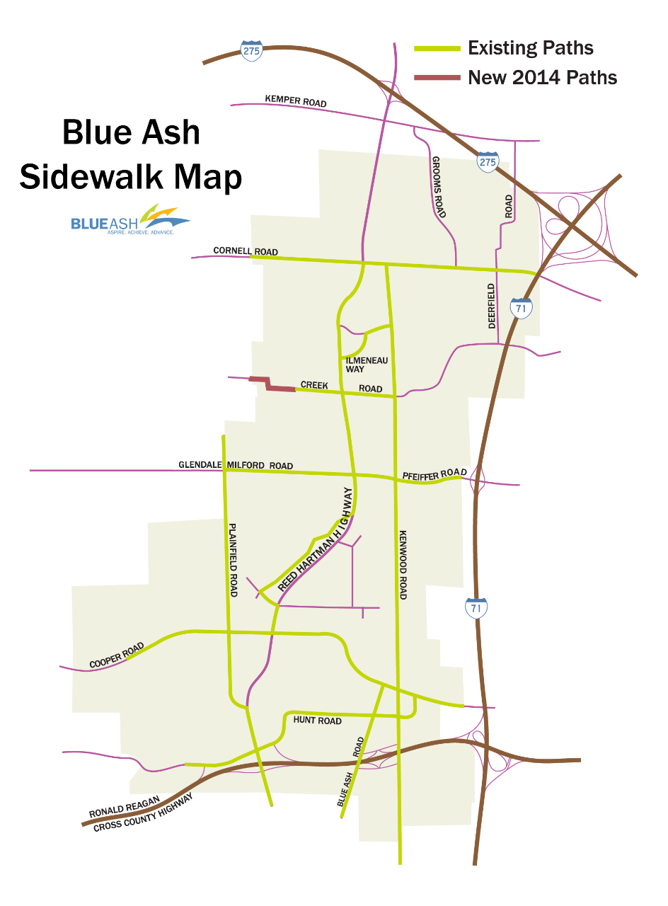 Map of all sidewalks in Blue Ash, Ohio