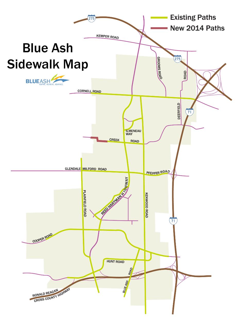 Blue Ash Sidewalk Map
