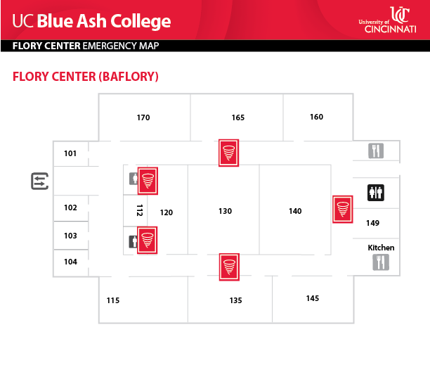 UC Blue Ash College Flory Center Emergency Map
