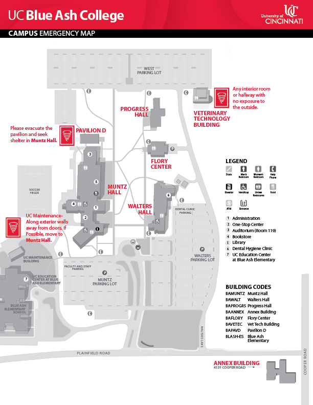 UC Blue Ash College Campus Emergency Map