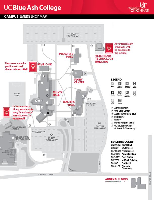 UC Blue Ash College Campus Emergency Map