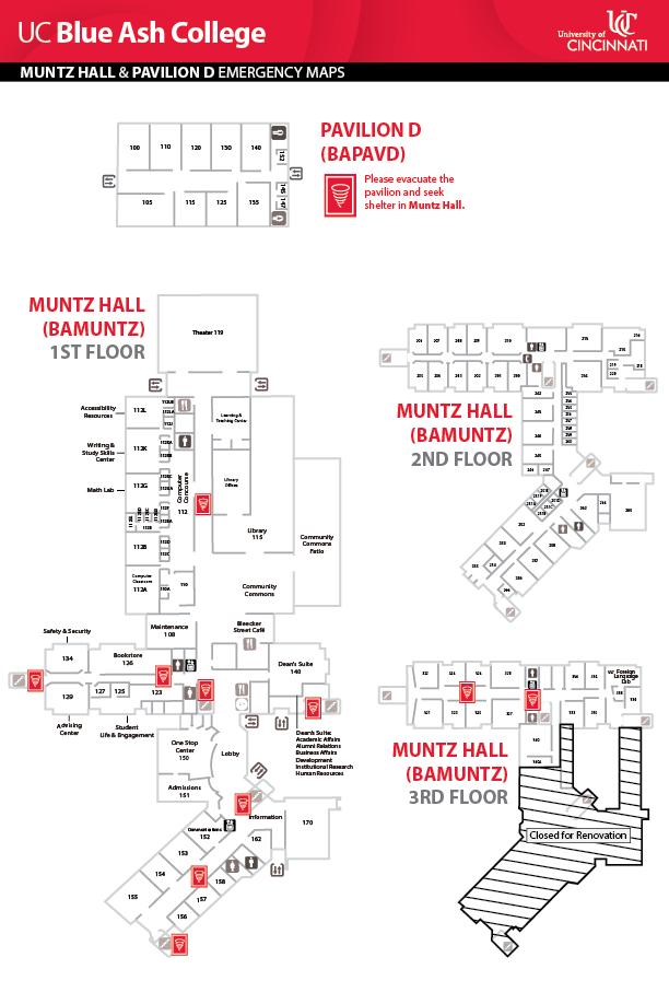 UC Blue Ash College Muntz Hall Emergency Map