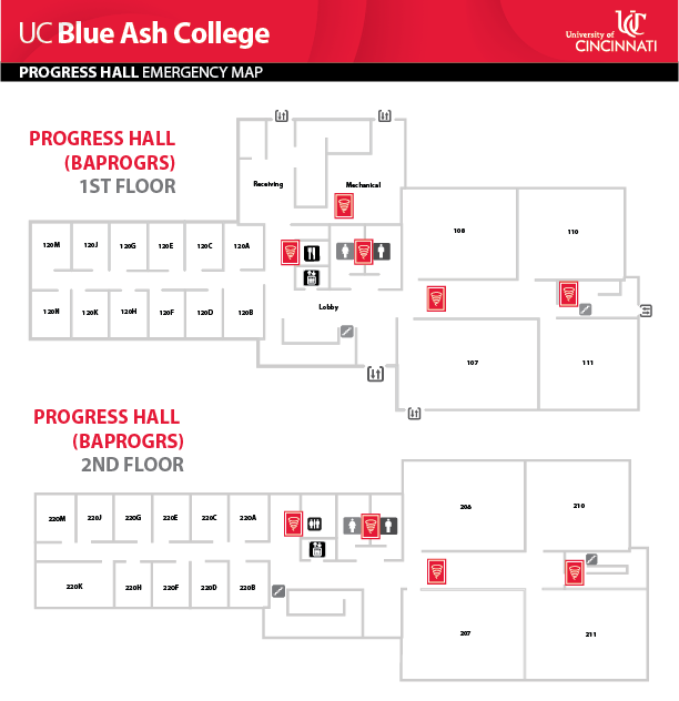 UC Blue Ash College Progress Hall Emergency Map