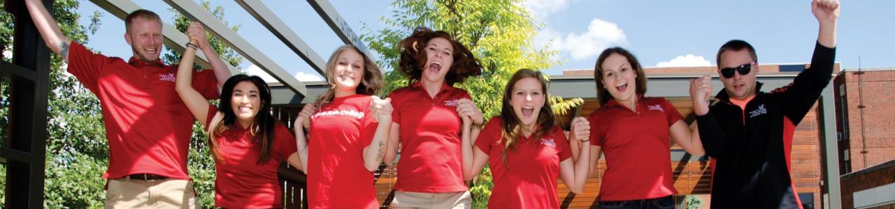 Student ambassadors celebrating success on campus