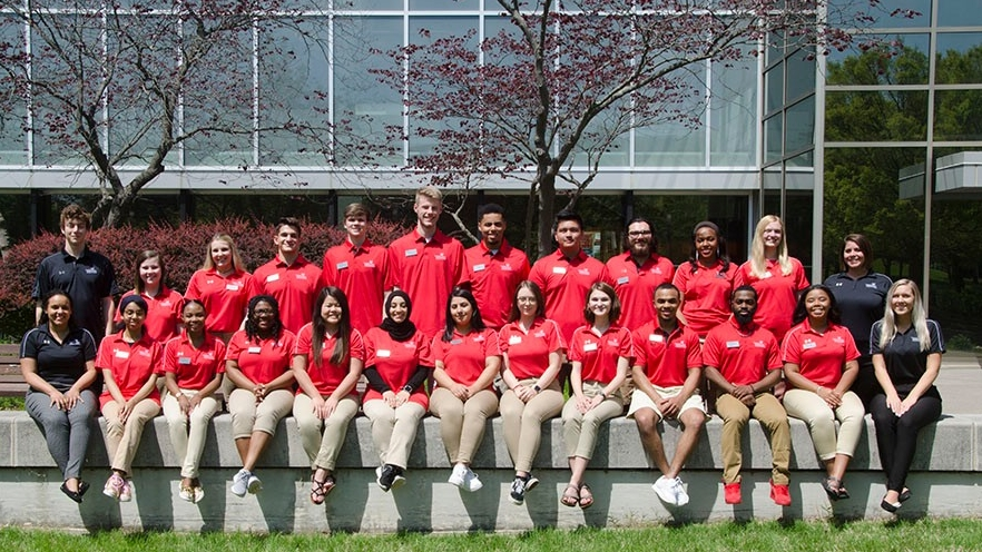 Student Orientation Leaders group outside Walters Hall